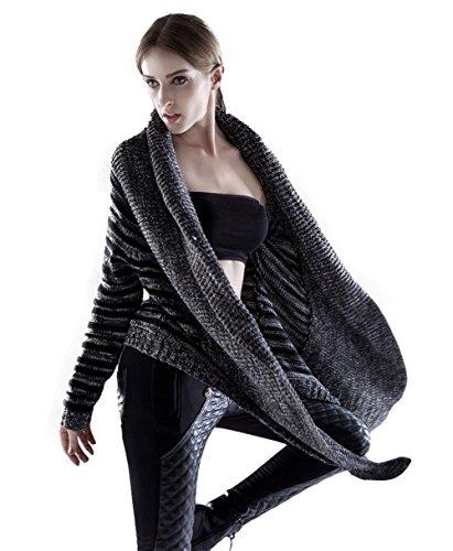 Cardigan Knit americano di Shmily ragazza delle donne con le tasche (Black, One Size) Black