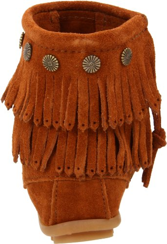 Minnetonka Double Fringe Side Zip Boot Damen Mokassin Stiefel Braun (Brown 2)