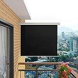 tidyard Auvent de Balcon pour Jardin/Terrasse/Balcon Tissu Polyester 100% avec Revêtement en Polyamide Résistance aux UV et à l'eau Noir 150 x 200 cm