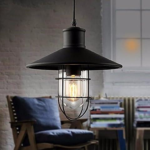 LighSCH Lustres Accueil fer simple cage Art avec lentille en verre 27*25cm Lampe