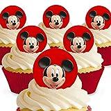 12 x Vorgeschnittene und Essbare Disney Mickey Mouse Kuchen Topper (Tortenaufleger, Bedruckte Oblaten, Oblatenaufleger)