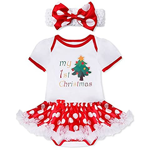 YiZYiF 2tlg. Baby Mädchen Kleid Weihnachten Bekleidung Set Strampler Tütü
