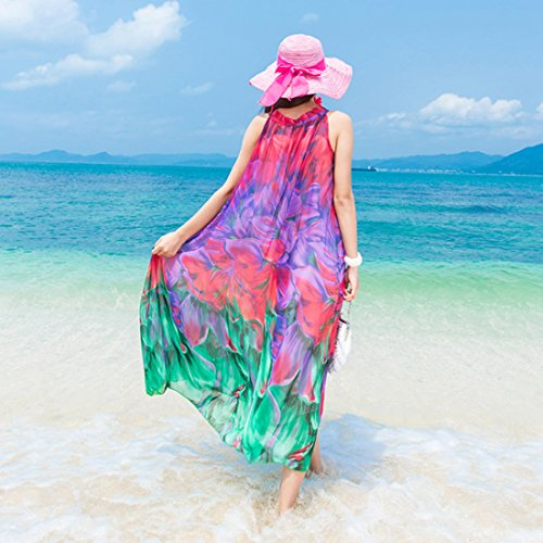 JXLOULAN Strand-Kleid-Frauen Sommer Printed Chiffon Kleider Küstenlage Bohemian Lange Röcke Red Gradient