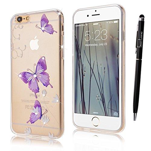 iPhone 6S Hülle,iPhone 6 Hülle,SMART LEGEND iPhone 6 6S 4.7 Zoll Weich TPU Silikon Case Schutzhülle Crystal Case Durchsichtig, Luxus Glitzer Glanz Kristall Crystal Transparent Silikon Schutzhülle Ultr Schmetterling und Lotus