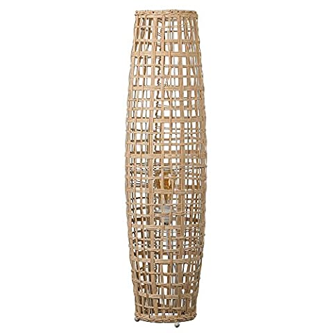Large Modern And Elegant Curved Column Design Rattan Effect Natural Brown Hand Woven Wicker Wood Floor Lamp