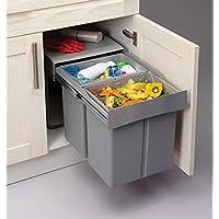 Cubo de basura y de reciclaje extraíbles con cierre suave, ideal para cocinas, 40cm baseMount 40L (20l + 20l)