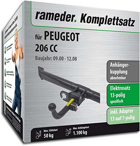 Rameder Komplettsatz, Anhängerkupplung abnehmbar + 13pol Elektrik für Peugeot 206 CC (117055-04572-4)