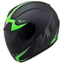MT TRUENO escuadron de cara completa casco de moto verde - grande