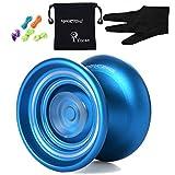 MagicYOYO K7 Responsive YoYo Ball für Anfänger mit Taschen & Handschuhen & 5 Saiten, Metall( Blau)