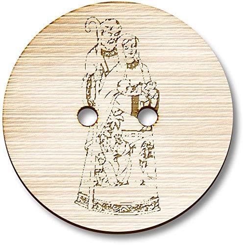 Azeeda 8 x 23mm 'Krippe' Runde Holz Knopfe (BT00045631) - Runde Holz Krippe