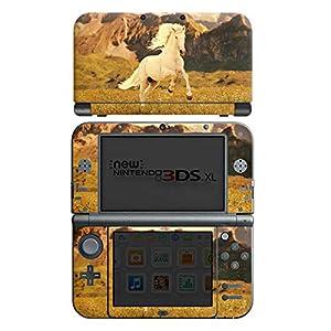 DeinDesign Skin kompatibel mit Nintendo New 3DS XL Folie Sticker Pferd Wiese weiß