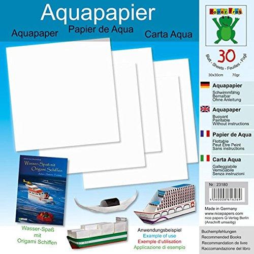 Aquapapier 30 x 30 cm 30 Blatt: Papier für Bücher: Wasser-Spaß mit Origami Schiffen (ISBN 978-3-938127-21-6), Origami Schiffe (ISBN 978-3-938127-04-9) (Origami Schiffe falten aus Aquapapier)