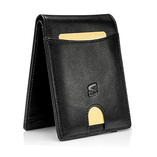 Schwarz Karten Portemonnaie ohne Münzfach mit RFID-Schutz Geschenk-Box Herren-Lederbörse Leder-Geldtasche Leder-Brieftasche Männer-Geldbeutel Echt-Ledergeldbeutel Portmonee Echt-Ledergeldbörse Purse