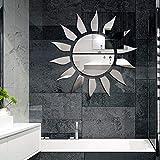 YLBHD Adesivo 3D da Parete Specchio a Forma di Sole Decorazione di Sfondo per Soggiorno Camera da Letto 59X59 cm