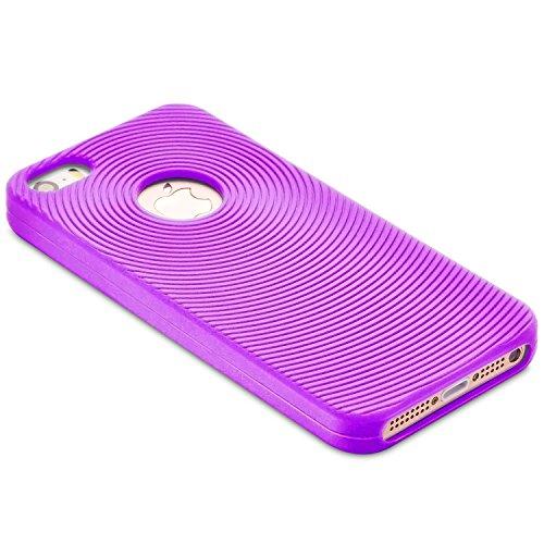Fosmon JEL Silicone Circle Entwurf Case Cover hülle für iPhone 5 / 5s / SE - Rosa violett