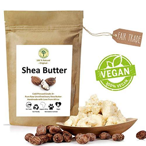 Grüne Valerie - SheaButter 250g unraffinierte Ivory White Karite - Kaltgepresst (Grad A+) pur & rein im Frischepack - Das Beste vegane Hautpflegeprodukt aus dem fairen Handel - Reines Mango-butter