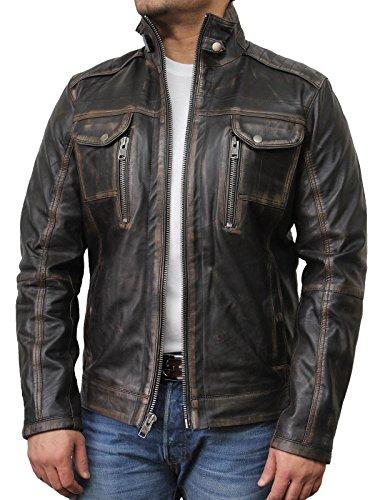 Vintage schwarze Herren Bikerjacke aus Leder (3X-Large)