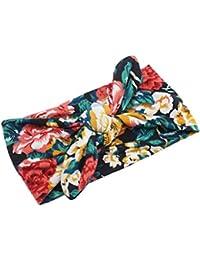 Mengonee Uni bebé de la impresión floral elástico Turbante Turbante venda del nudo niño recién nacido anchas Twisted arcos de pelo