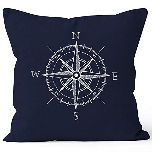 MoonWorks Kissenbezug Wind-Rose Kompass Kissen-Hülle Deko-Kissen 40x40 Baumwolle Navy Pullover -