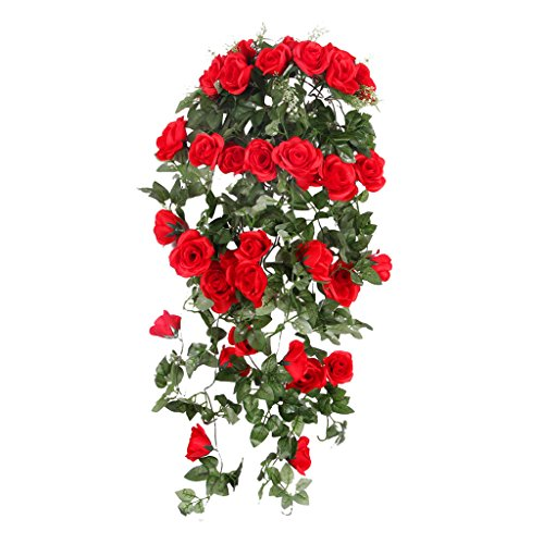 Romatic Künstliche Rose Blume Kunstblumen Haus Hochzeit Wand Hängen Dekor - Rot, XL