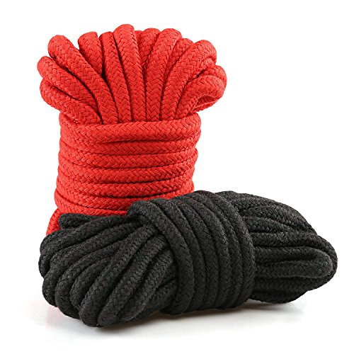 LIHAO 2x 10m Bondageseil Bondage Seile Fesselseil BDSM Schwarz Rot - 6