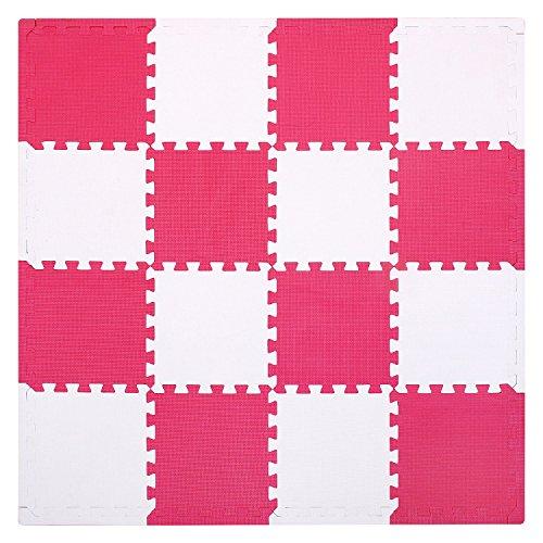 Spiel-platz-matte (meiqicool 16 PCS IN HERZFORM EVA Foam Play Mats Boden Puzzle kriechen Play Spiel Matte für Baby Kinder-Kleinkind – Helle Farbe, umweltfreundliche Material, sicher zu verwenden Rot und weiß)