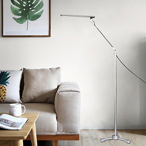 Preisvergleich Produktbild Tonffi Faltbare LED Stehleuchte Aluminiumlegierung Standlampe mit 8W 42LM 5000K weiß Touch-dimmbare Schalter fünf Helligkeit für Ihr Wohnzimmer und Lesenzimmer usw. Silber Dreieck-Lampenfuß