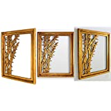 [Sponsored]TAMARA ARTEFACTS: HOME DECOR - WALL HANGING/ DECOR / ART: Balinese Traditional Bamboo Tree Wood Carved Mirror / Picture Frame In Antique Gold Finish. Imported.