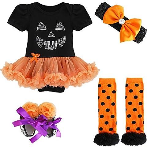 YiZYiF Neugeborenes Baby Mädchen Bekleidungsset Outfits Kürbis Halloween Kostüm Kurzarm Strampler Overall mit Tütü Röckchen + Stirnband + Beinwärmer + Schuhe (3-6 Monate, Schwarz + (Baby-0-6 Monate Kostüme)