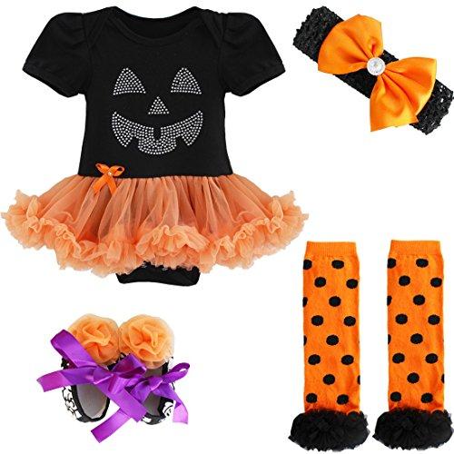 YiZYiF Neugeborenes Baby Mädchen Bekleidungsset Outfits Kürbis Halloween Kostüm Kurzarm Strampler Overall mit Tütü Röckchen + Stirnband + Beinwärmer + Schuhe (3-6 Monate, Schwarz + Orange) (3 6 Monat Halloween Kostüm)