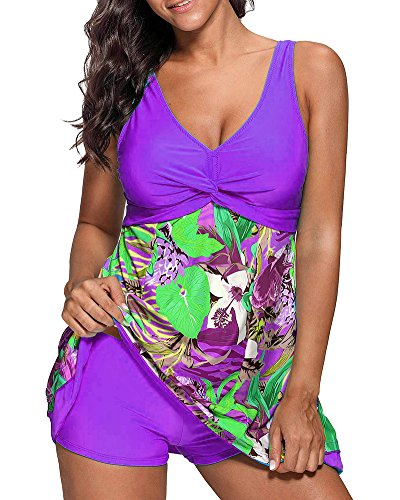 Donna stampato floreale tankini taglie forti due pezzi costumi da bagno gonna e pantaloncini tuta bikini viola l