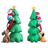 L&Z 1.8M Merry Christmas Weihnachten Licht Aufblasbarer Weihnachtsbaum, LED Beleuchtung Saisonale Deko Inflatable Hund Beißen Weihnachtsmann Dekoartikel, Weihnachtsdekoration Weihnachtsbeleuchtung