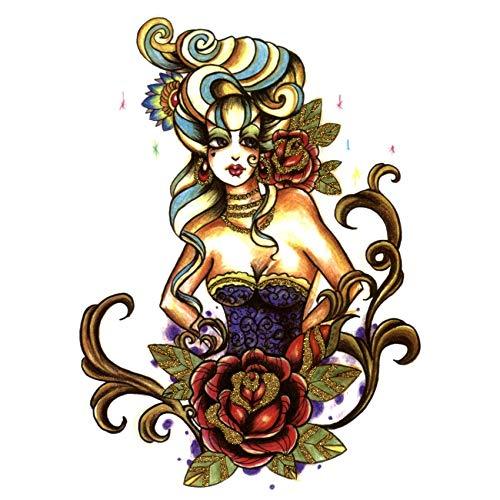 LBBMBC 3 Stück Rose wasserdicht Damen temporäre Tätowierung Aufkleber billige Dinge Körper Tattoo Henna (1 Und 2 Billig Ding Kostüme Ding)