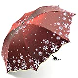 ZGMMM Fiori Ombrello Pioggia Moda Cambia Colore Ragazza Ombrelli Pioggia Donna Bella FioreVino Rosso
