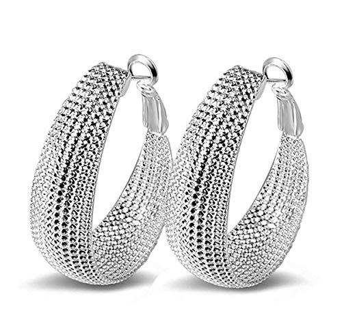 1Paar Damen Ohrringe Großer Ring Silber-Schmuck Ohrstecker Praktisch