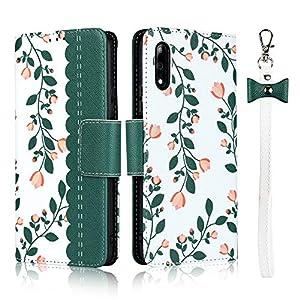 FAWUMAN Hülle für Huawei Honor Mit Schlüsselband, Premium PU Klapphülle Brieftasche Kartenfächer Handyhülle Stylish Blume Flip Case mit Standfunktion und Magnetverschluss Schutzhülle Passt