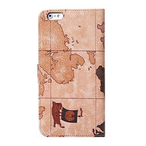 Wkae Case & Cover carte du monde modèle étui avec titulaire et carte des créneaux horaires pour iphone 6 plus &6s et prestation de aléatoire ( Color : Brown )