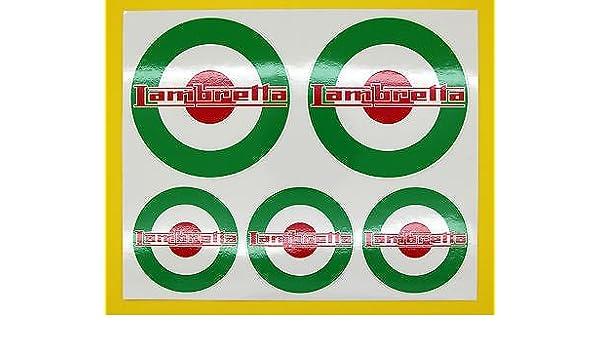 SCOOTER LAMBRETTA style Drapeau ITALIEN COCARDE x 5 autocollants ensemble d/écalque drapeau