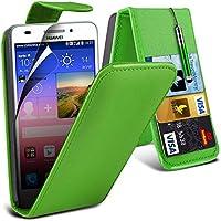 ( Green ) Huawei Ascend G620s Hülle Abdeckung Cover Case schutzhülle Tasche Protective PU-Leder-Schlag mit 2 Kredit- / Bank-Karten-Slot-Kasten-Haut-Abdeckung mit LCD-Display Schutzfolie, Poliertuch und Mini-versenkbaren Stift durch Aventus