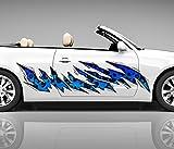 2x Seitendekor blau Flecken Metall Kratzer 3D Autoaufkleber Digitaldruck Seite Auto Tuning bunt Aufkleber Rennstreifen Seitenstreifen Airbrush Racing Autofolie Car Wrapping Motorrad LKW Decals Sticker Tribal Seitentribal CW046, Größe LxB:ca. 160x40cm