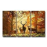 So Crazy Art 3 Panel Braun Dekorativ Hirsch im Herbst Wald Tier Fotos Prints auf Leinwand Bild Decor Öl für Moderne Heimdekoration Druck Modern 16x32inchx3Panel