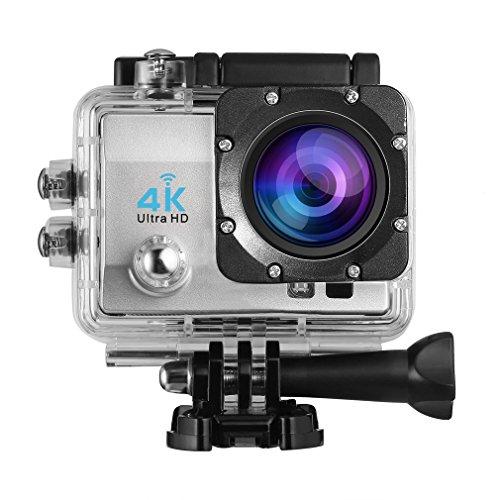 Galleria fotografica 4K Action Camera Sport WiFi Ultra HD 1080P Custodia Impermeabile Batterie 1050 mAh 170° Grandangolare Schermo LCD 2.0 e Kit Accessori con Pacco Portatile Videocamera Sportiva DV