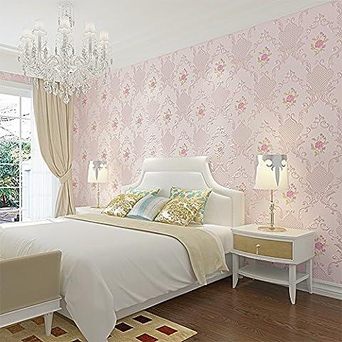 Jedfild Stéréo 3D American gaufrage cadre idyllique chambre salon TV wall paper background non-tissé papier peint, rose pâle