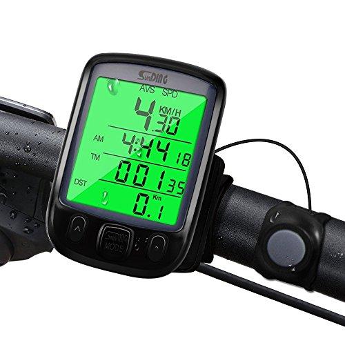 synmixx Fahrradcomputer Kabellos LCD Großbildschirm Fahrradtacho Drahtlos 29 Funktionen Radcomputer Tachometer Wasserdichte Fahrrad Tacho Kilometerzähler für Radsport Realtime Speed Track -