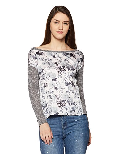 Jealous 21 Women's Abstract T-Shirt (1JW10852_Grey_Large)