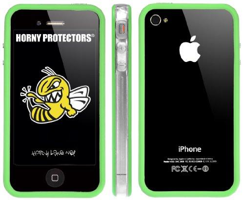 Horny Protectors Bumper für Apple iPhone 4 rosa/weiß mit Metallbutton transparent grün