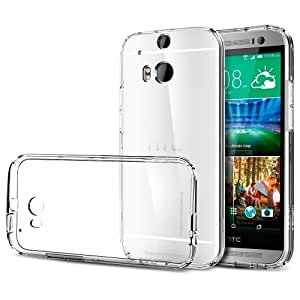 Spigen® [STRONG-FLEX] [+Screen Shield] HTC One M8 Case Clear **NEW Release** [Ultra Fit] [Capsule Clear] [1 Premium Japanese Screen Protector Included] Premium Clear TPU Case Soft for The All New HTC One M8 (2014) - ECO-Friendly Packaging - Capsule Clear (SGP10810)