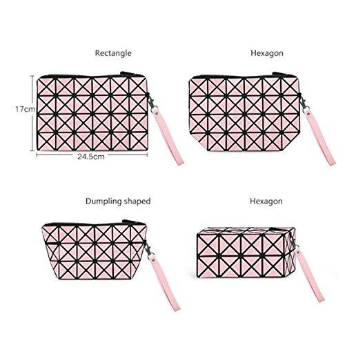Mode Multifunktion Leicht PU Rhombus Geometrisch Reise Kosmetiktaschen Pink
