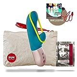 Fun Factory AMORINO türkis Vibrator für die Klitoris und G-Punkt aus Silikon mit Stimulationsband (inklusive Tasche + Gleitgel)
