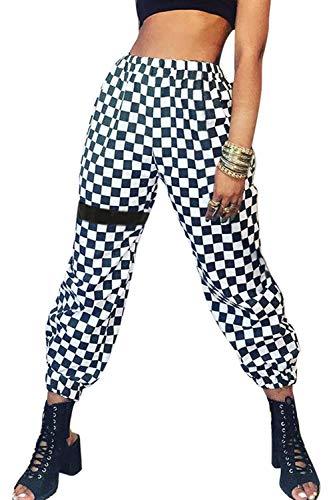 Mujer Pantalones de Cargo Casual Baggy Jogger Hip Hop Pantalón Deportivo Cintura Elástica Deporte Plaid S